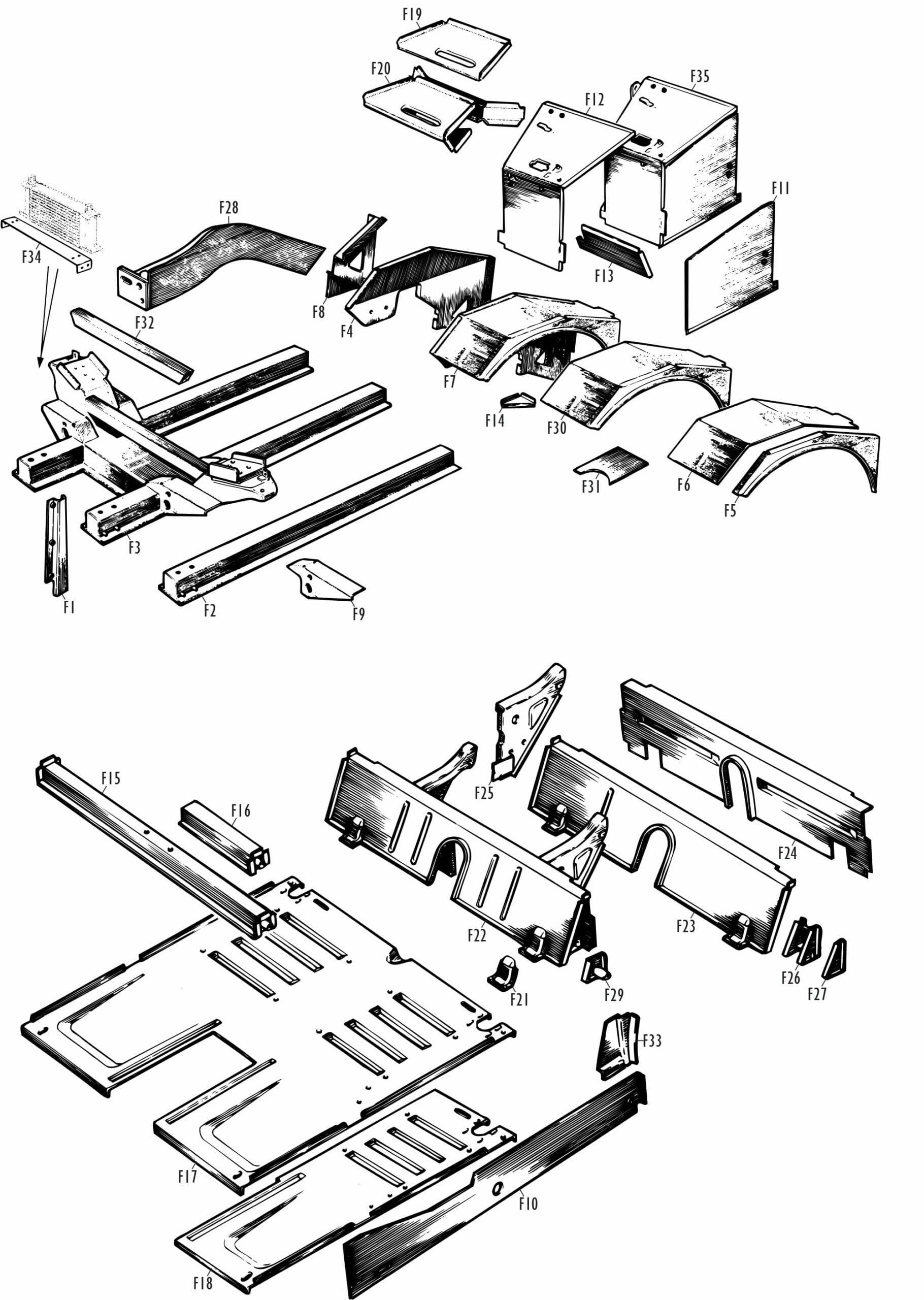 MG Midget Parts - MG Midget Front Centre Body
