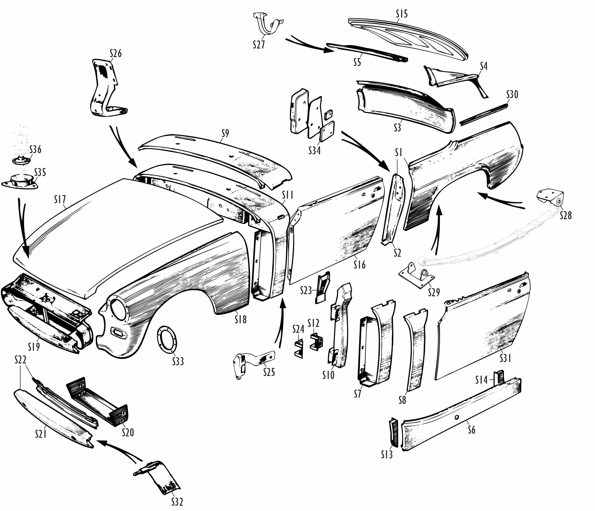 MG Midget Parts - MG Midget Skin Panels