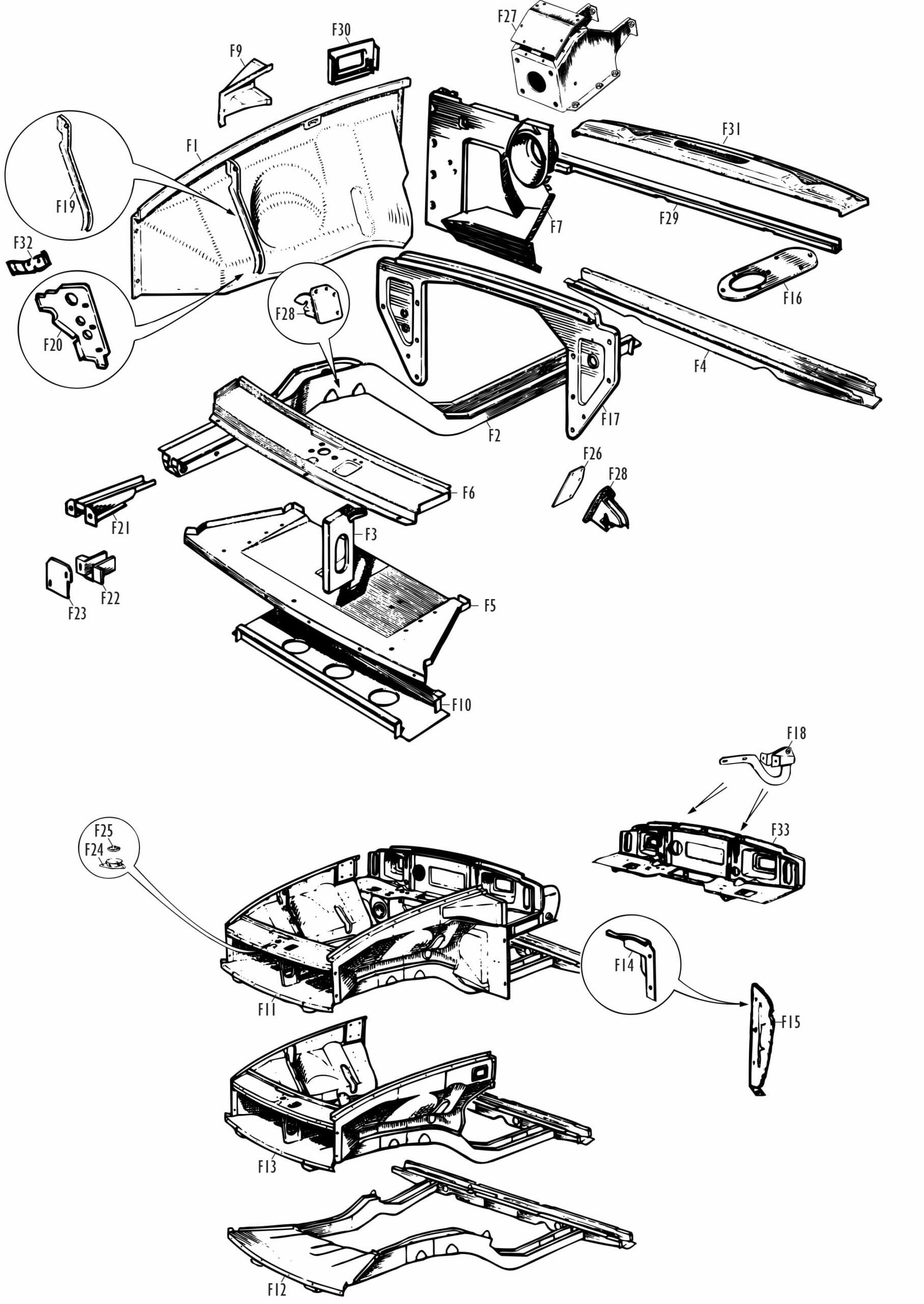 MGB and MGB GT Parts - MGB Front Body