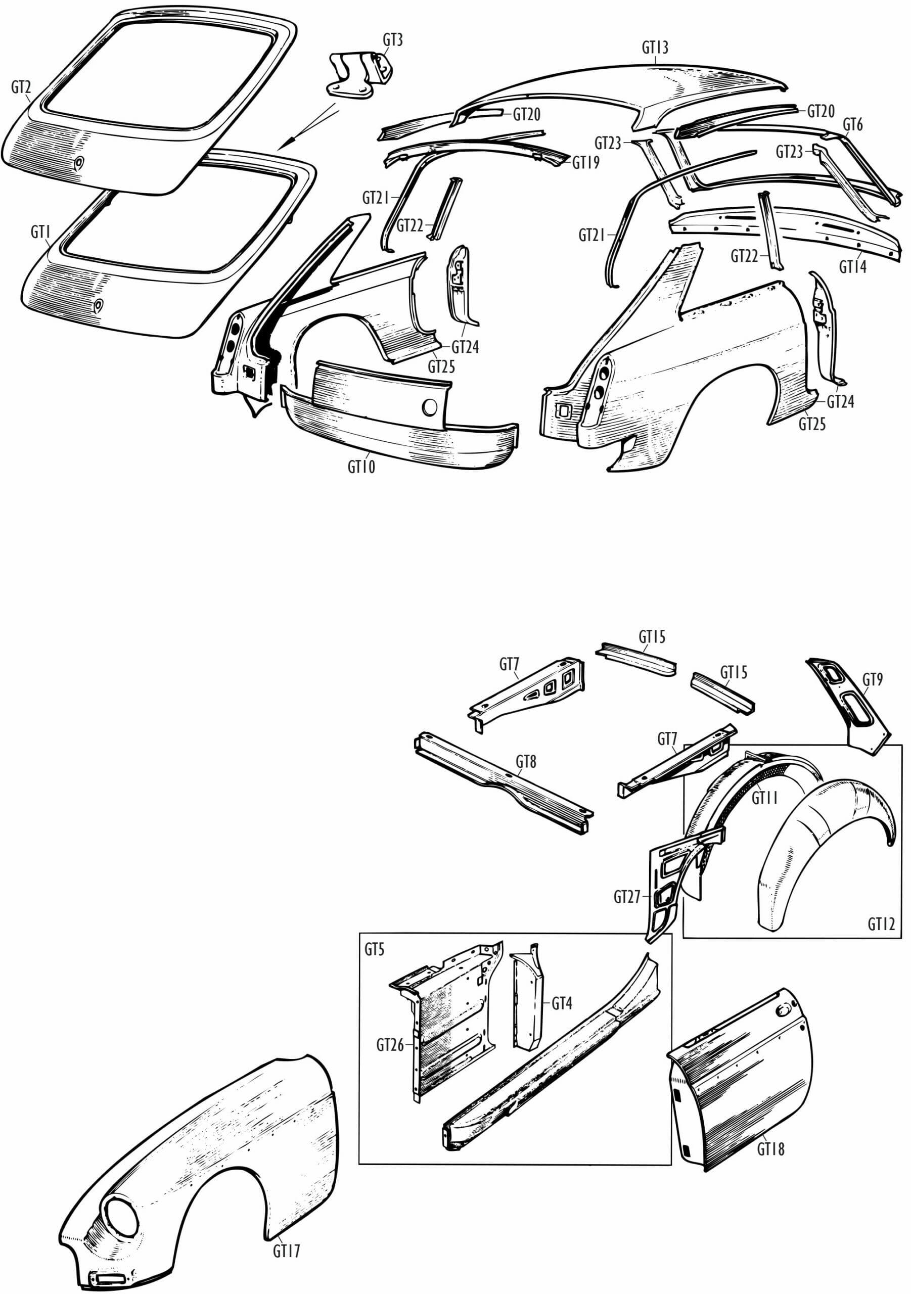 MGB and MGB GT Parts - MGB GT Unique Panels