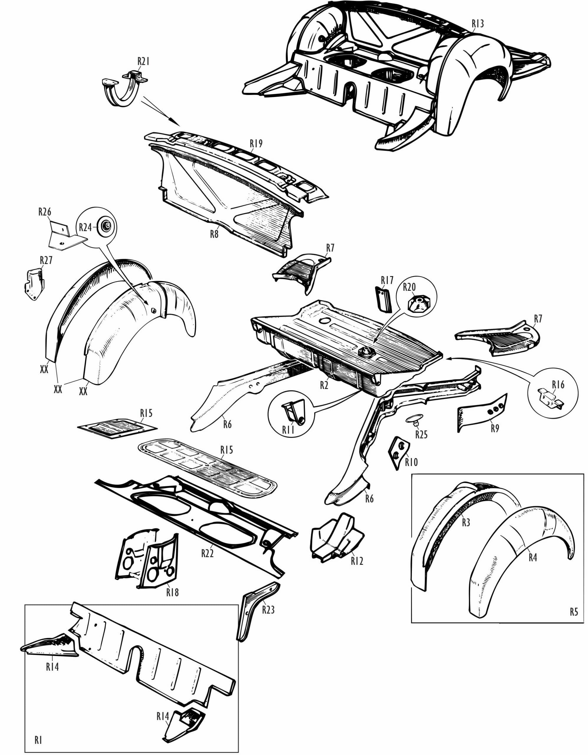 MGB and MGB GT Parts - MGB Rear Body