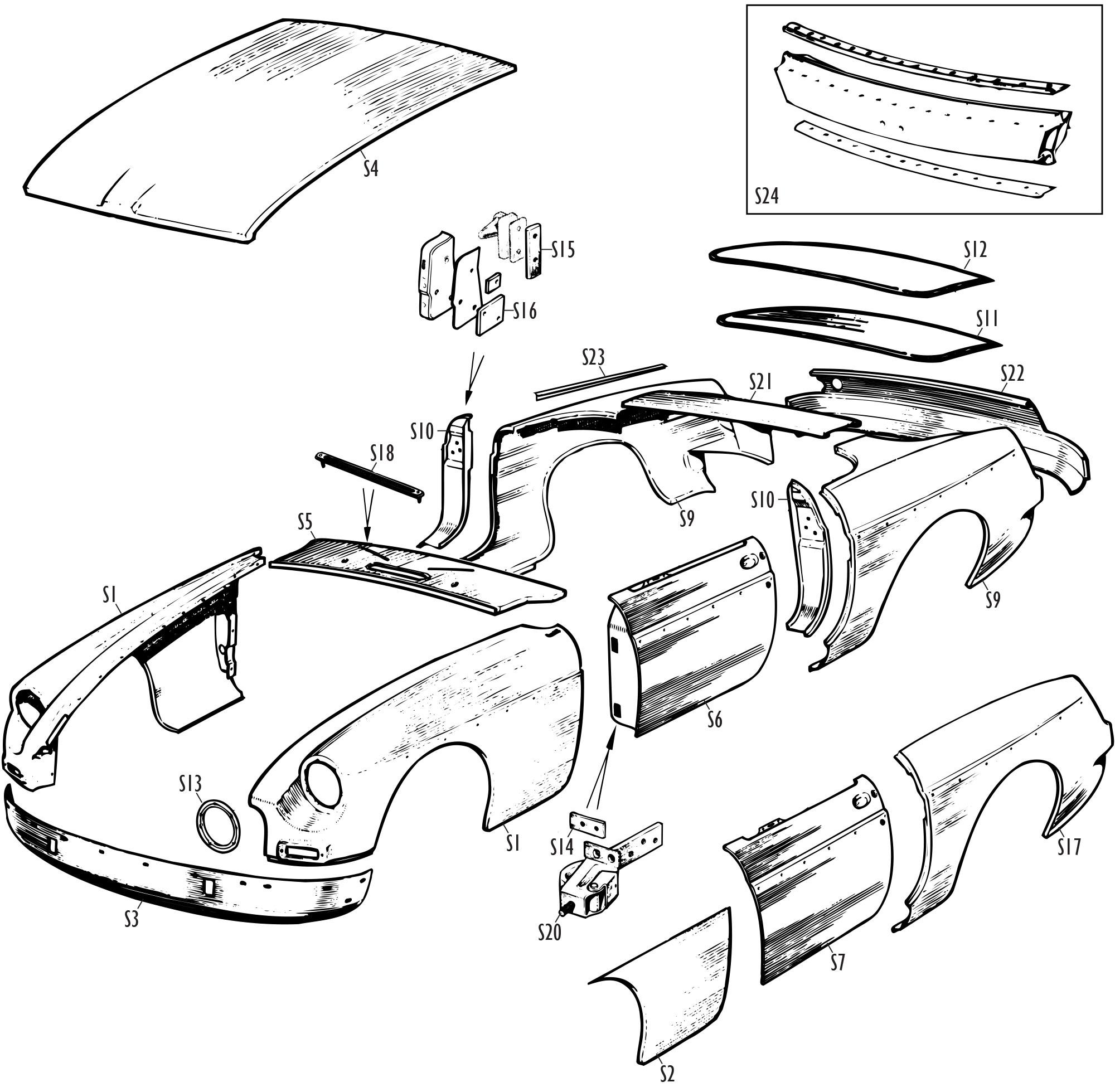 MGB and MGB GT Parts - MGB Skin Panels