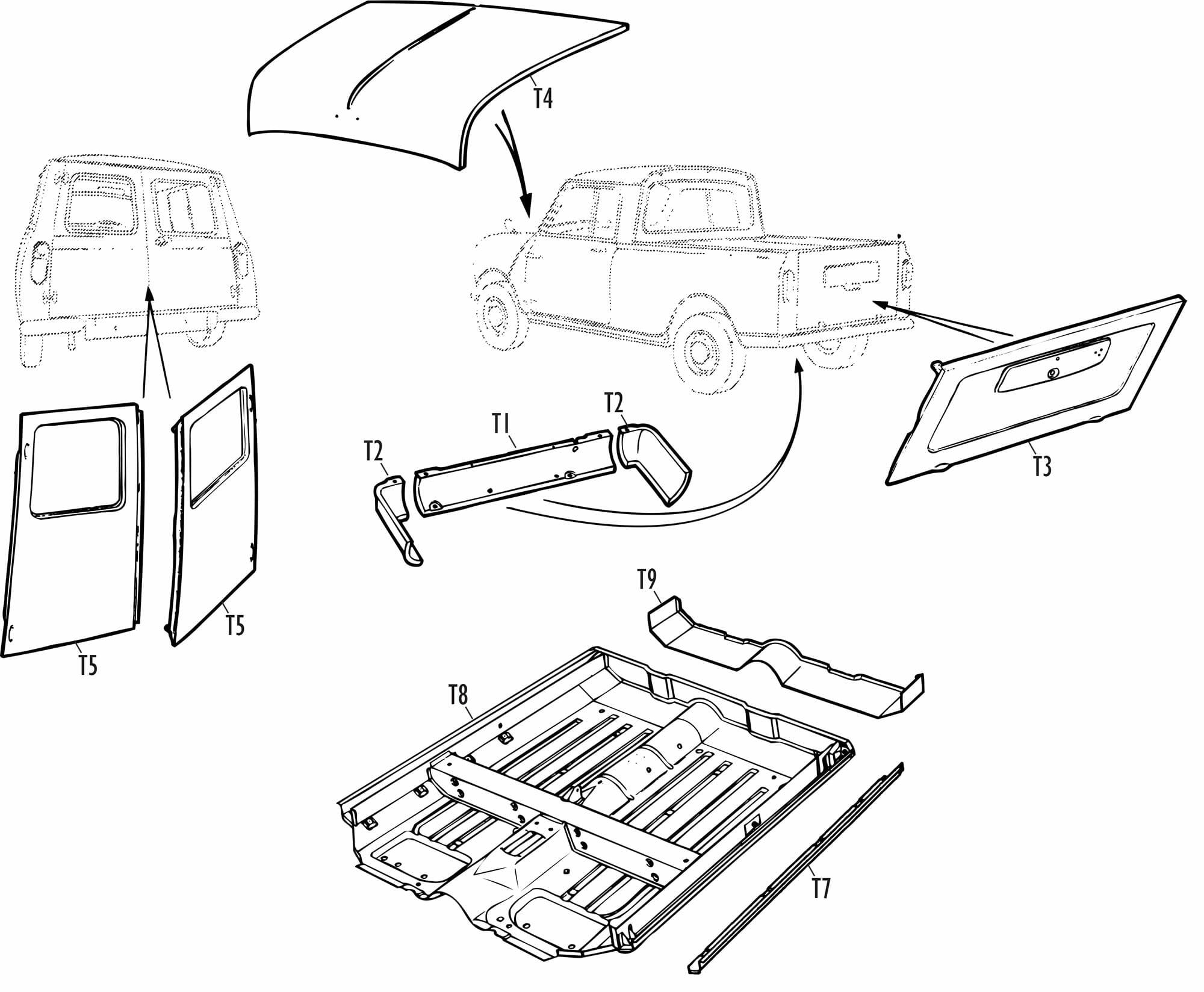 Mini Parts - Traveller, Van & Pick-Up Specific Panels