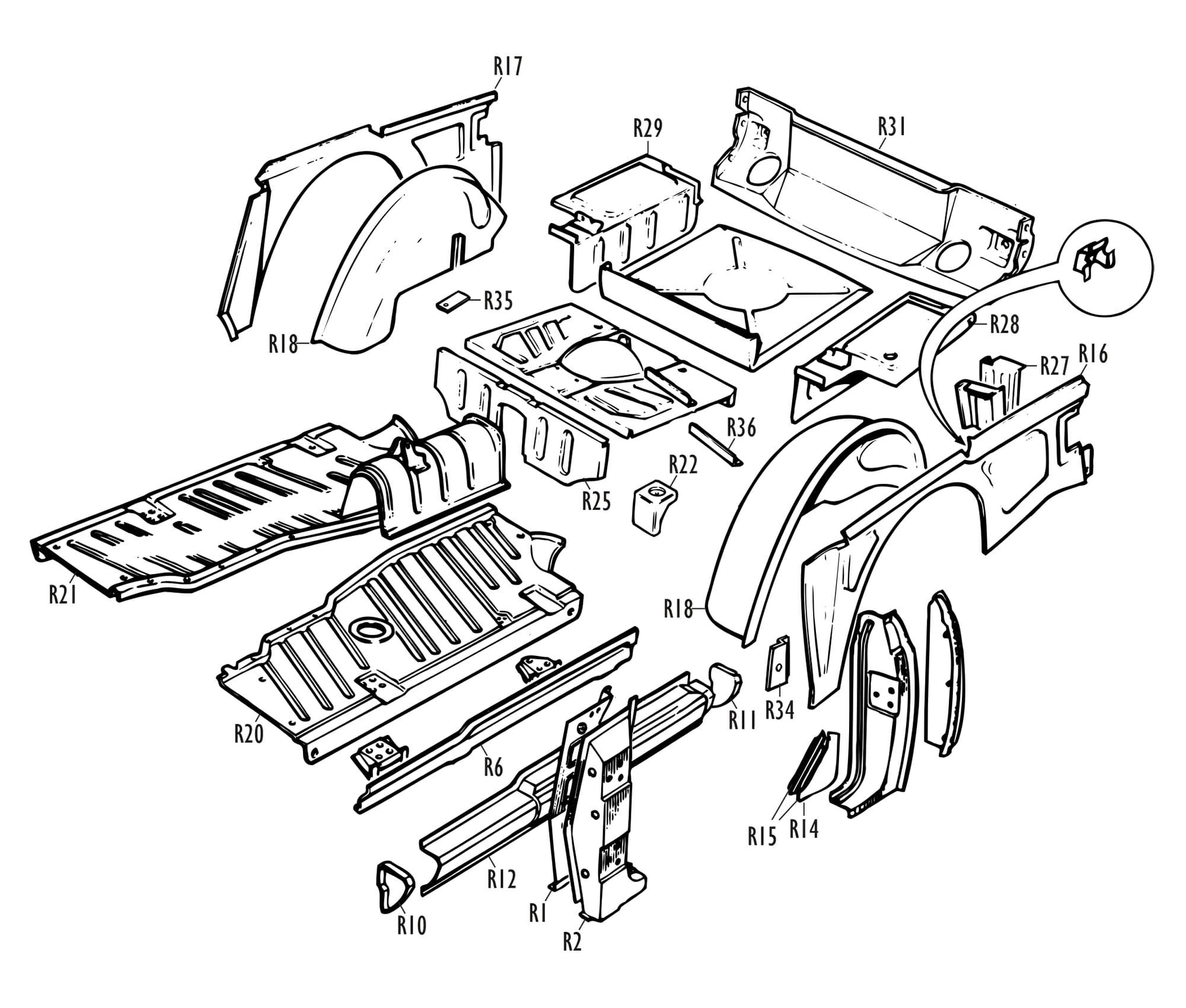 Triumph Parts - TR Centre & Rear Inner Panels